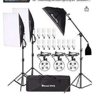 """MOUNTDOG 2400W Softbox Photography Lighting Kit 20""""x 28"""" Professional Continuous Studio Lighting Equipment with Boom Arm Hairlight and Carry Case for for Sale in Los Angeles, CA"""