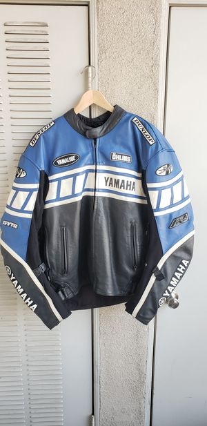 Yamaha blue leather Motorcycle racing jacket w/padding for Sale in Ontario, CA