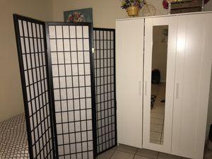 Twin bed, room divider, 3 door closet for Sale in San Bernardino, CA