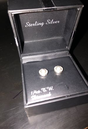Sterling Silver Diamond Earrings for Sale in Houston, TX