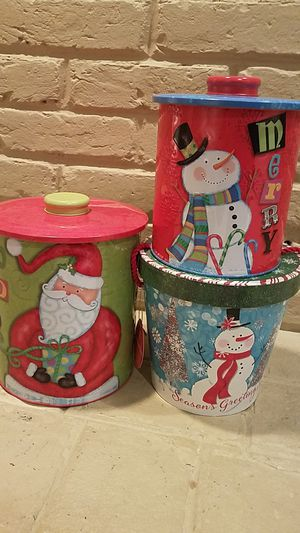 3 NEW CHRISTMAS COOKIE CANISTERS for Sale in Fairfax, VA