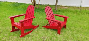 Brand New 4 Piece Adirondack Red Patio/ lawn furniture set. 1 Arm Chair 1 Footrest 1Table 1 Rocker for Sale in Upper Marlboro, MD