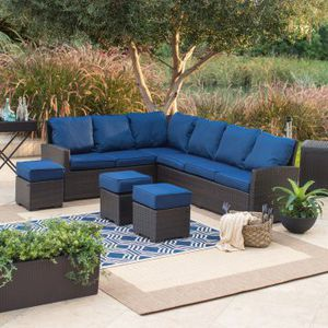 6pc..Dark Brown Wicker Sofa Sectional Patio Dining Set includes dining Table and Navy Cushions for Sale in Boca Raton, FL