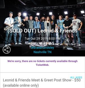Leonid & Friends Show at 3rd & Lindsley Nashville. Tuesday, October 29th for Sale in Nashville, TN