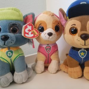 Paw Patrol, Rocky, Skye And Chase Plushies From Ty for Sale in University Place, WA