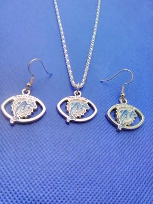 Miami Dolphins Necklace and Earrings Set for Sale in Grove City, OH