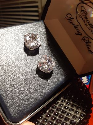 New silver Earrings big size new never used for Sale in Upland, CA