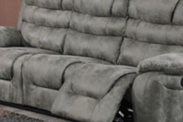 Electric Reclining Sofa Upholstered In Micro Fiber. Available In Gray! for Sale in Miami,  FL