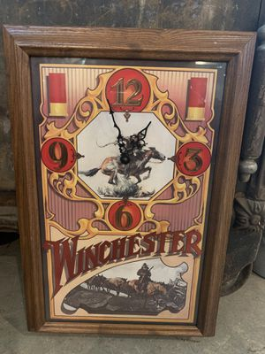 "13x19 vintage WINCHESTER CLOCK. ""Works"". 38.00. 212 North Main Street Buda. Furniture collectibles sterling silver jewelry man cave items vintage to for Sale in Buda, TX"