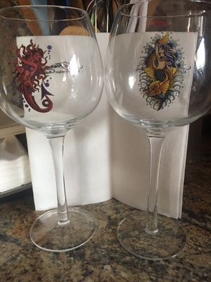 2 Collectible Ed Hardy by Christian Audigier glasses for wine for Sale in Hialeah, FL