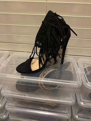 Black fringed heels for Sale in Kathleen, GA
