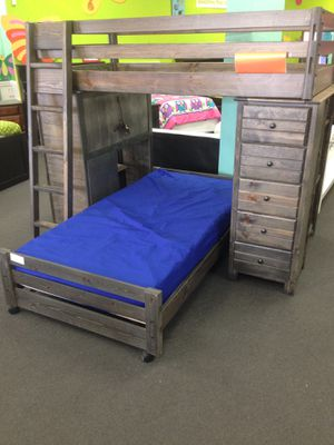 Twin over twin loft bed with desk and chest. Color choice for Sale in Glendale, AZ