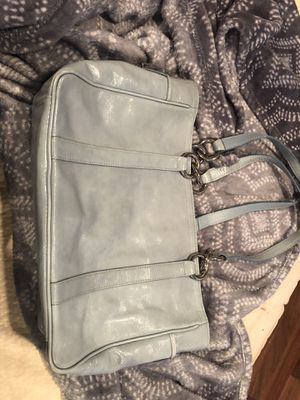 Coach Chambray bag light blue leather tote for Sale in New Cumberland, PA