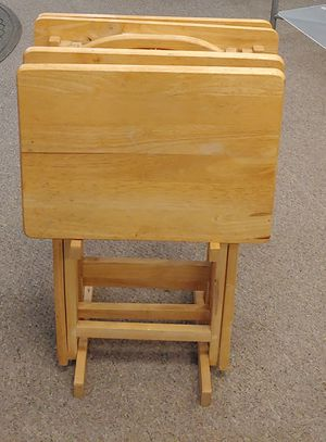 Oak TV Trays With Stand for Sale in Burlington, NC