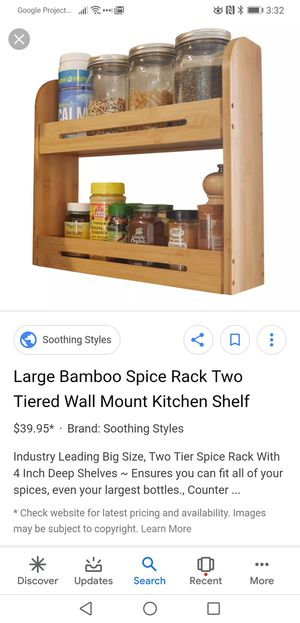Bamboo shelf 2 tier shelving wall rack mounted kitchen spice for Sale in Las Vegas, NV