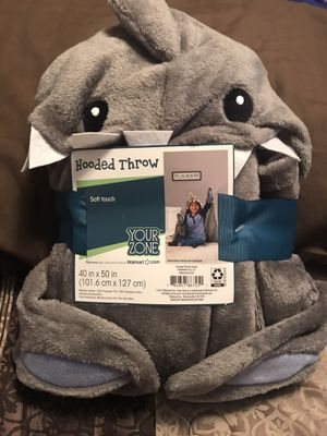 Shark Hooded Grey Throw with Hand Pockets for Sale in Sioux Falls, SD