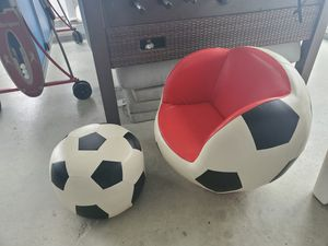 Kids Soccer Ball chair with ottoman for Sale in Barnegat, NJ