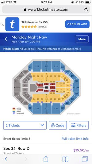 WWE Monday night raw tickets TONIGHT !! for Sale in Lexington, KY