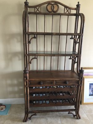 Tommy Bahama wood Bakers Rack with 2 Draws and wine holder for Sale in Aventura, FL