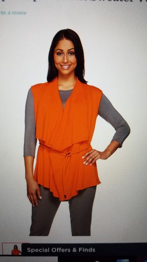 H by Halston draped open front sweater vest orange size medium for Sale in Rossford, OH