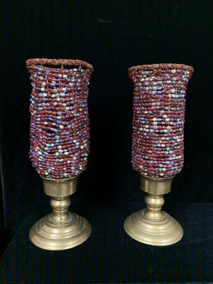 Brass and glass bead candle stick holders for Sale in Brighton, CO