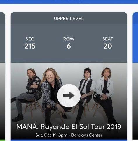 Ticket concierto mana NYC