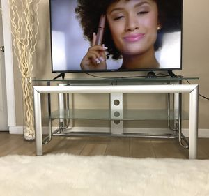 Glass, Metal TV Stand, Silver for Sale in Glendale, AZ