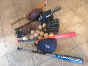 BASEBALL ITEMS. 5 GLOVEUrS-4BATS - 14 BB PRACTICE for Sale in Las Vegas, NV