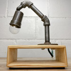 Wood Mid Century Modern Industrial Pipe Desk Lamp for Sale in Vanport, PA