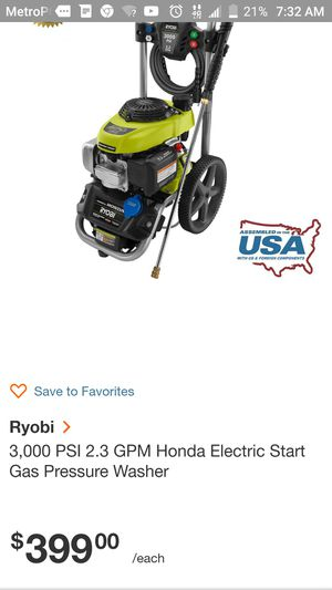 Ryobi pressure washer for Sale in Wichita, KS
