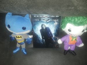 The dark night DVD brand new still in the package with stuffed Batman and joker plushies for Sale in Laveen Village, AZ