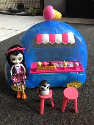 Enchantimals preena penguin doll and ice cream wheels frozen treats playset for Sale in Miami, FL