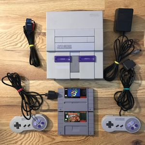 Super Nintendo SNES System Console Bundle With Super Mario World & Donkey Kong Country Tested for Sale in Banning, CA