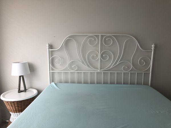 White IKEA queen size bed frame