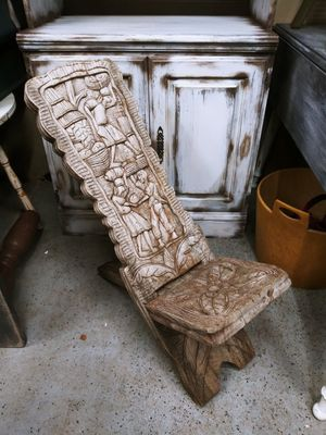 Antique Wooden Hand Crafted Palaver Chair Engraved for Sale in Joliet, IL