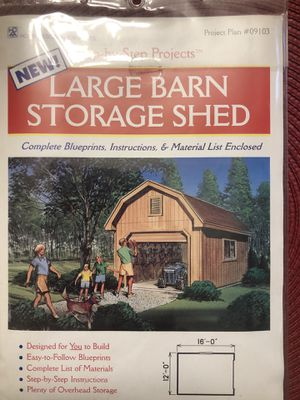 Large Barn Storage Shed Blue Print for Sale in NEW CARROLLTN, MD