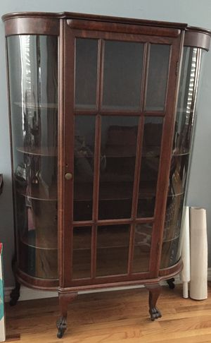 Display cabinet antique wood curio for Sale in Whittier, CA