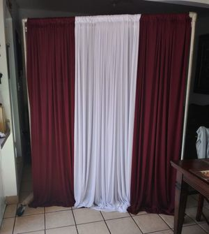 New set 2 curtains Burgandi 1 curtain white $30.00 firm price stand not for Sale for Sale in Fontana, CA