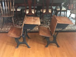 Pair of Antique Wood and Cast Iron School Desks for Sale in HOFFMAN EST, IL