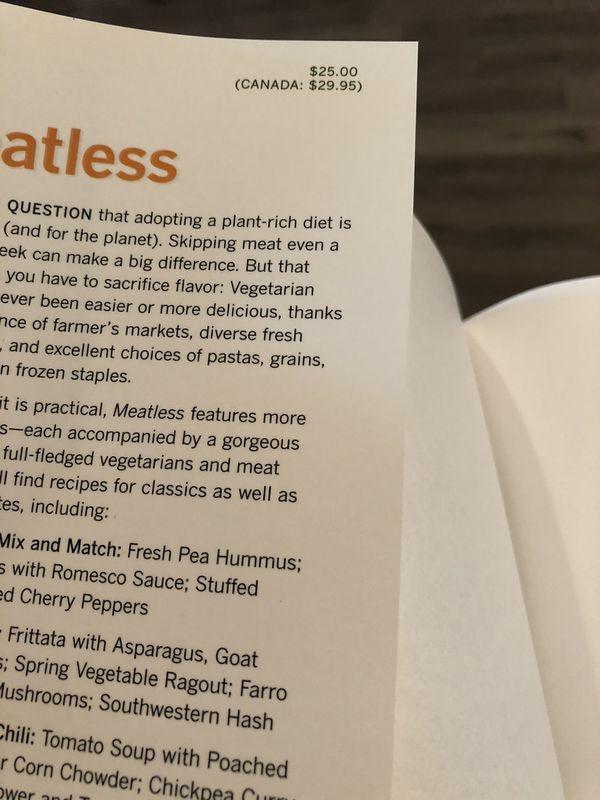 NEW - never used. Meatless Vegetarian Cookbook.