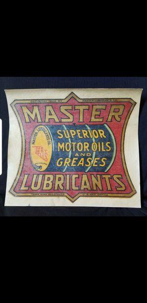 Master Oil LUBRICANTS TRANSFER 1924 Original for Sale in Riverside, CA