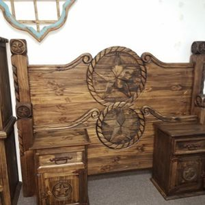 Rustic King Bedroom Set W/Star And Rope $54 Down for Sale in Dallas, TX