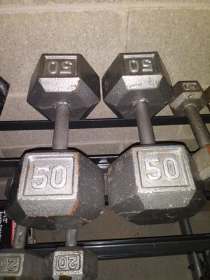 50 POUND HEX DUMBBELL WEIGHT SET for Sale in Whitehall, OH