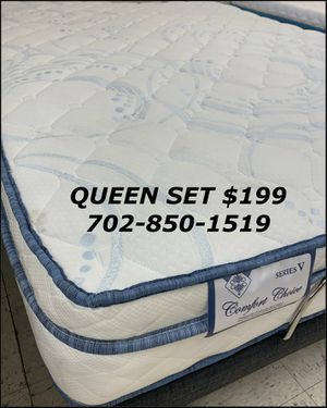 Pillowtop queen mattress and box spring set special same day delivery available for Sale in Las Vegas, NV