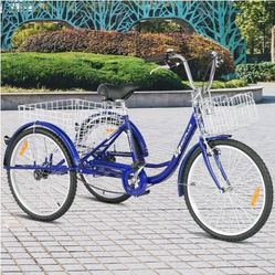 """24"""" Single Speed 3-Wheel Bicycle Adult Tricycle Seat-Blue SP36330NY for Sale in Diamond Bar,  CA"""