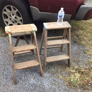 2 Wooden Ladders Vintage Shelf's Step Stools Same Height 22 Inches High Farm House for Sale in Coatesville, PA