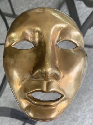 Vintage Solid Heavy Brass Surreal Decorative Face Mask for Sale in Austin, TX