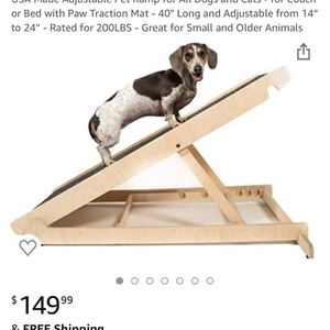 "USA Made Adjustable Pet Ramp for All Dogs and Cats - for Couch or Bed with Paw Traction Mat - 40"" Long and Adjustable from 14"" to 24"" - Rated for 200L for Sale in Costa Mesa, CA"