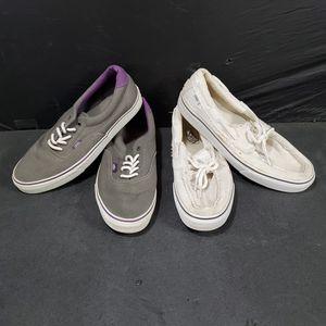 2 Pairs Of Used Men's Sz 11.5 Vans Shoes Purple Grey White for Sale in Phoenix, AZ