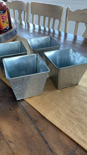 4 galvanized metal buckets for Sale in Wenatchee, WA